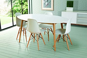 Beau MY Furniture   Dining Table Lacquered White Retro Oval  Tretton (Oval White  Lacquered
