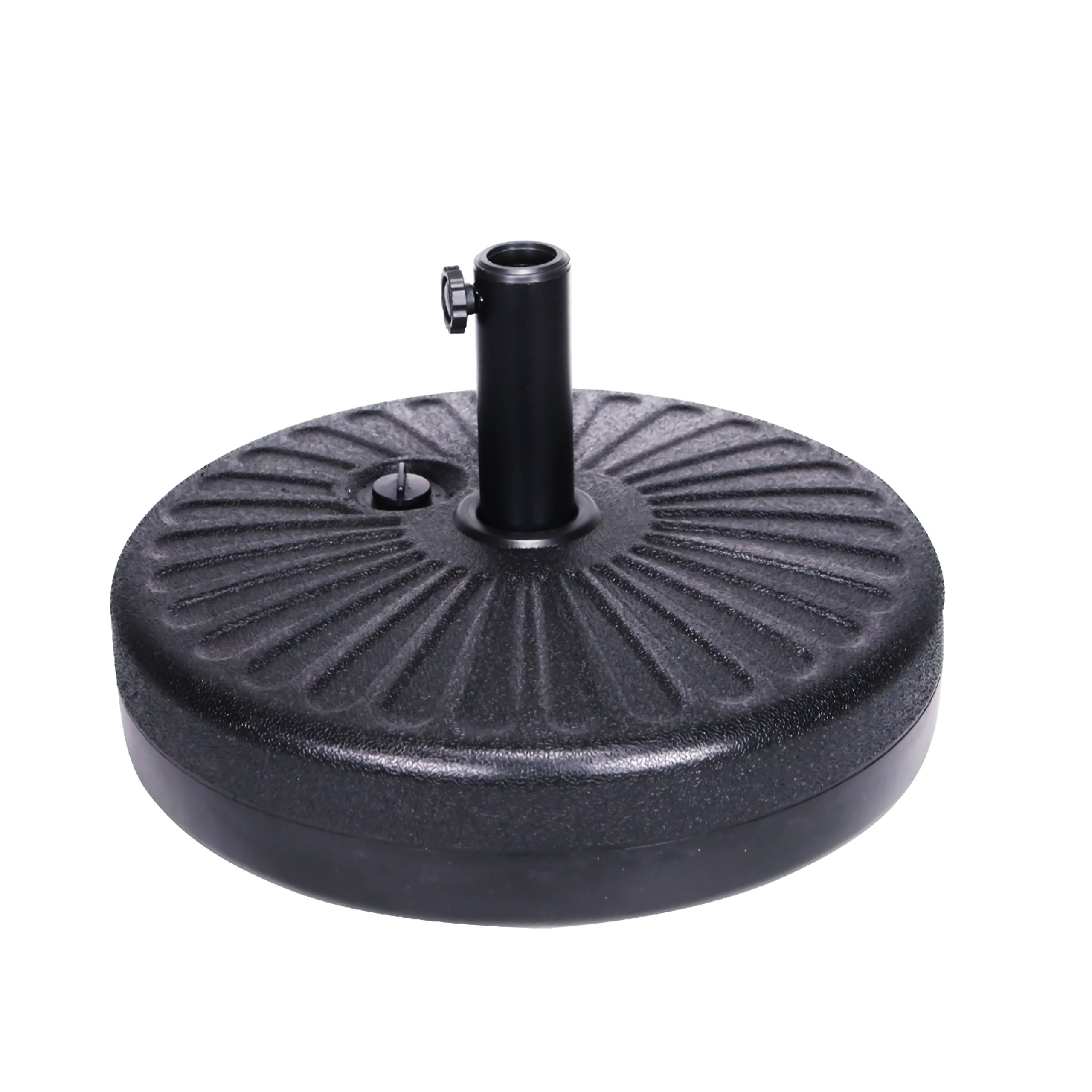 Grand patio Umbrella Base,Eco-friendly HDPE Fabric Fill with Water 50lbs Umbrella Stand Pole Holder for Garden Lawn Poolside, 20 Inch(Black)