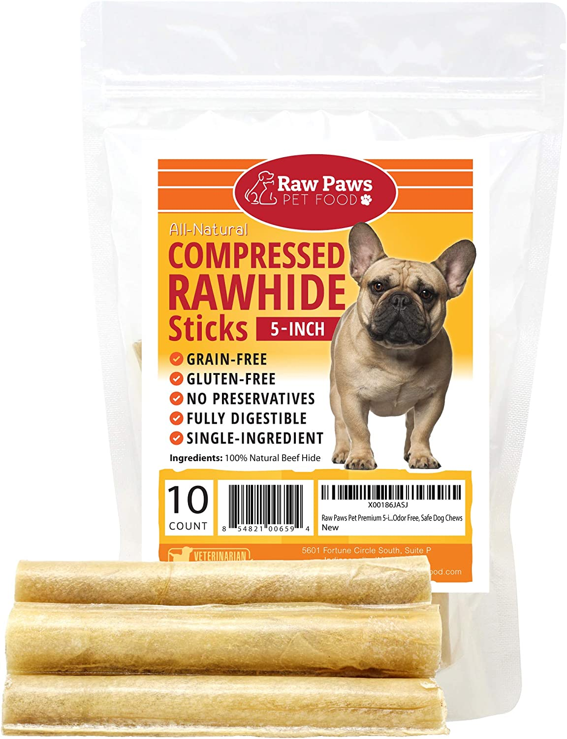 Raw Paws Pet Premium 5-inch Compressed Rawhide Sticks for Dogs – Packed in The USA – Natural Beef Hide Dog Chews – Rawhides for Small Dogs and Puppies – Safe Pressed Rawhide Rolls
