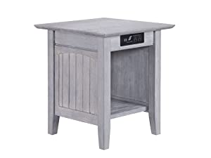 "Atlantic Furniture AH14318 Charger Nantucket End Table 20"" x 20"", Driftwood"