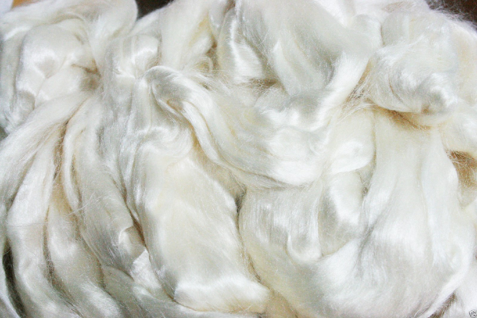Yarn Place Tussah Silk Bleached Roving Spinning Felting Fiber Tops 8 oz by Yarn Place