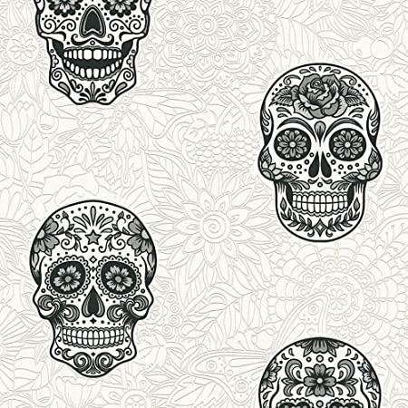 Skull Wallpaper Gothic Floral White Silver Black Textured Vinyl As