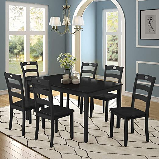 Merax Dining Table Set for 6, Kitchen Table Sets Wood Dining Table with 6  Chairs and Exquisite Dining Room Furniture (Black)