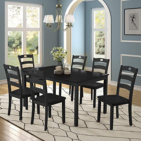Merax Dining Table Set For 6 Kitchen Table Sets Wood Dining Table With 6 Chairs And Exquisite Dining Room Furniture Black