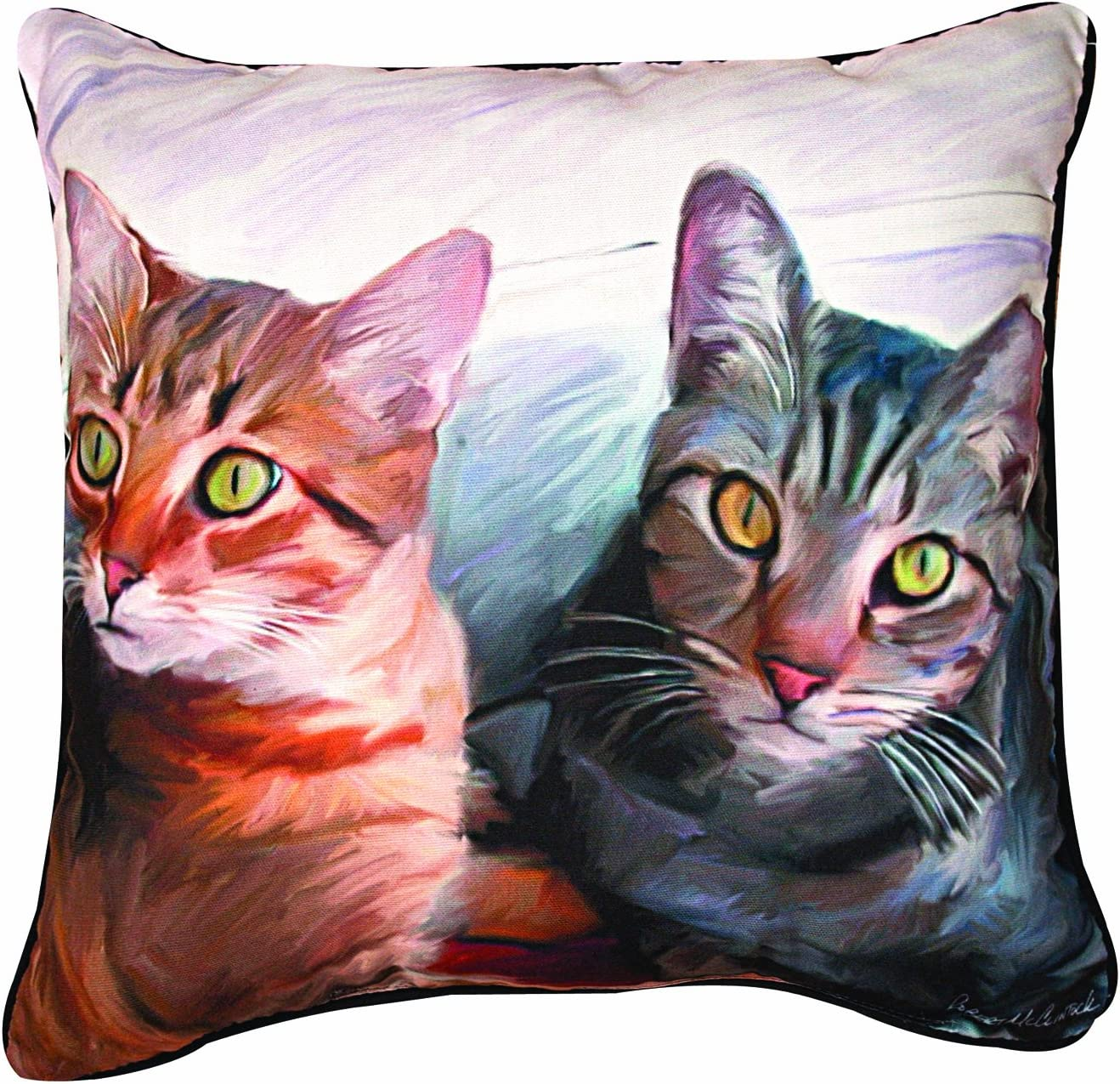 Manual 2 Cats Paws and Whiskers Decorative Square Pillow, 18-Inch