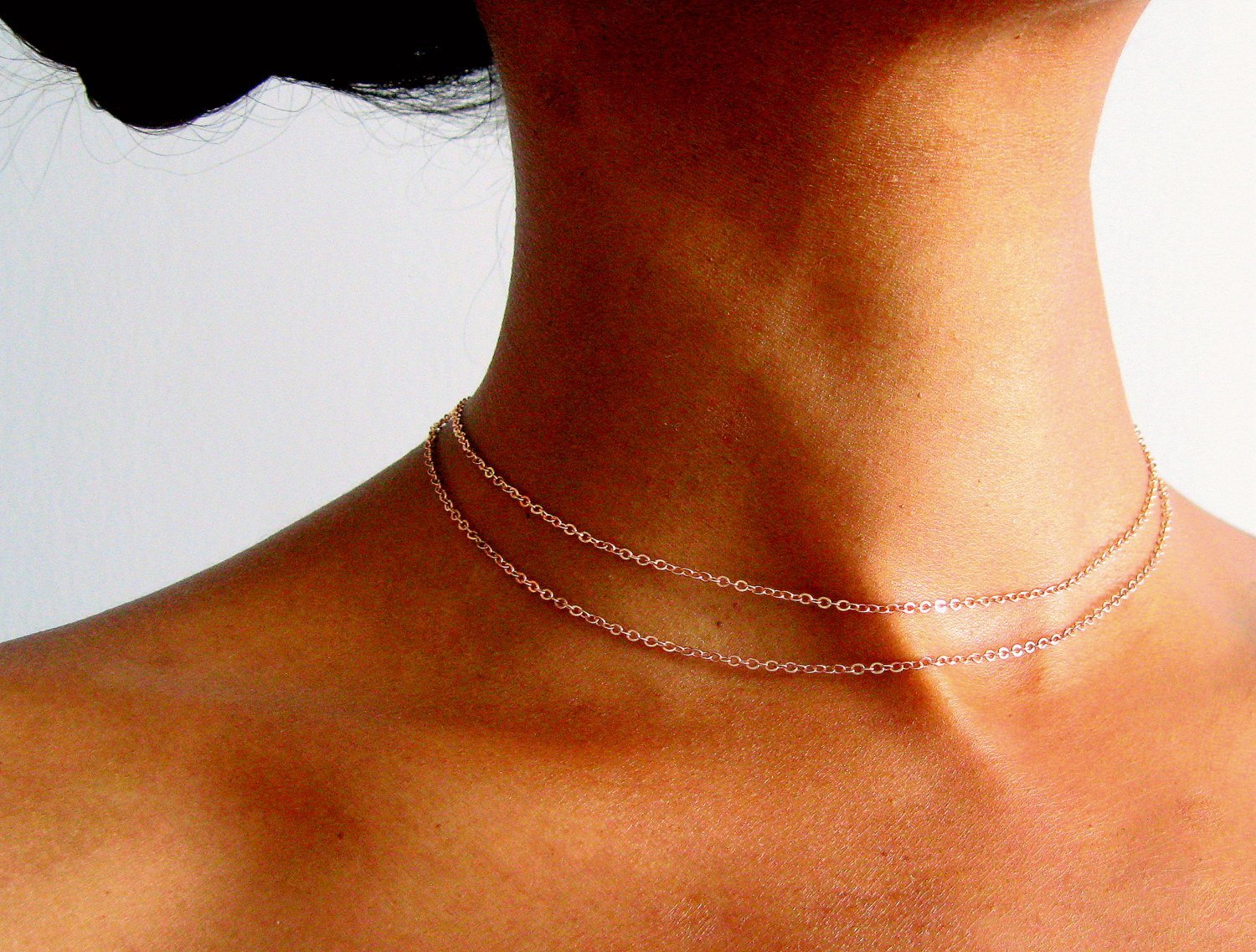 Thin Double Layered Rose Gold Choker Necklace for women, Adjustable 13