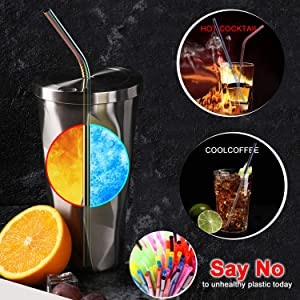 LKZAIY Metal Straws Stainless Steel Straw Reusable Drinking Straws 8.5 Colorful Rainbow Straws 8 Set [ 4 Straight, 4 Curved ]for 20 Oz Yeti Rtic Ozark Trail Wine Tumblers with Dual 9 Cleaning Brush