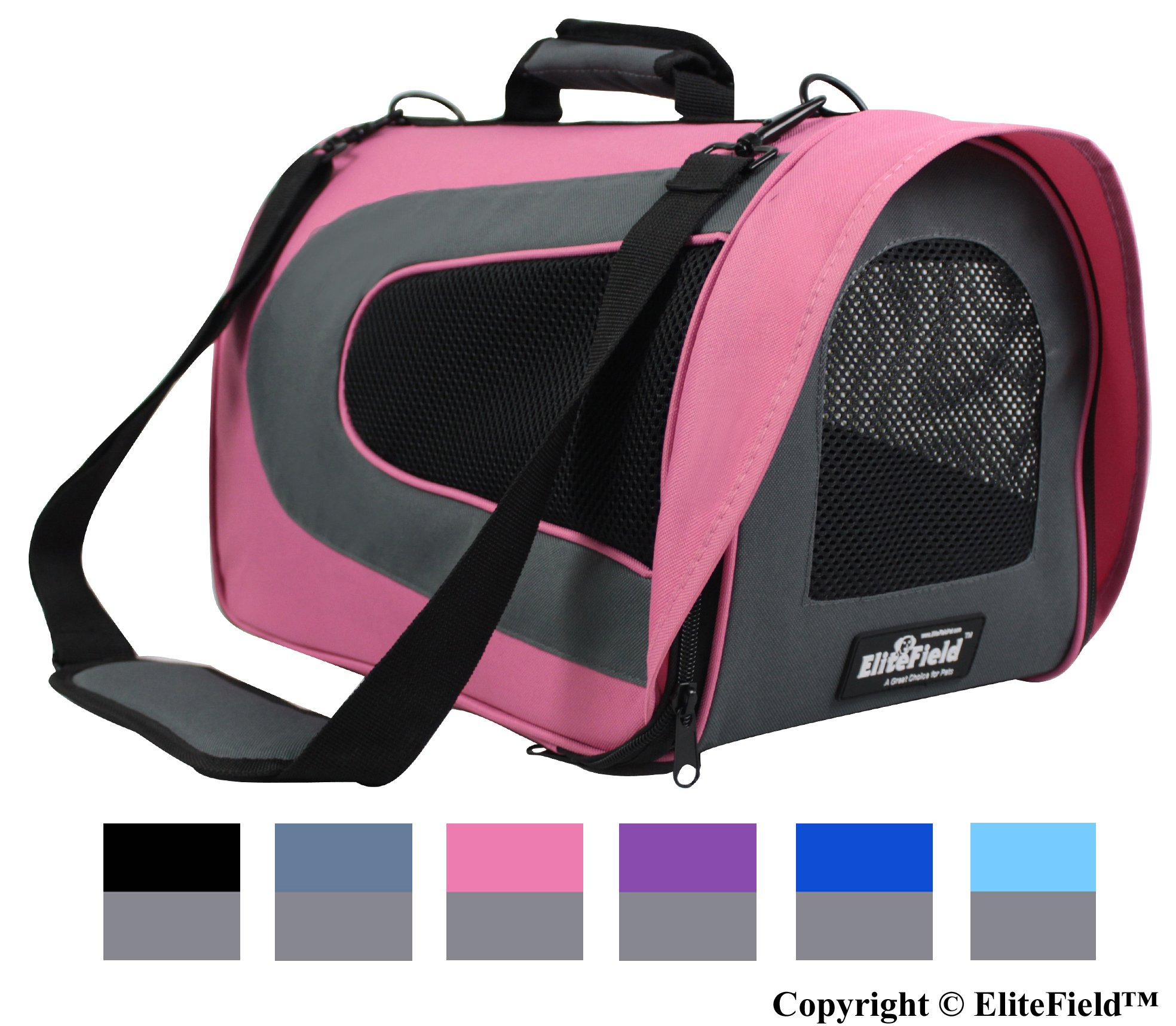 EliteField Airline Approved Soft Pet Carrier with Plush Bed for Dog and Cat, 18 L x 10 W x 11 H Inch, Pink/Gray