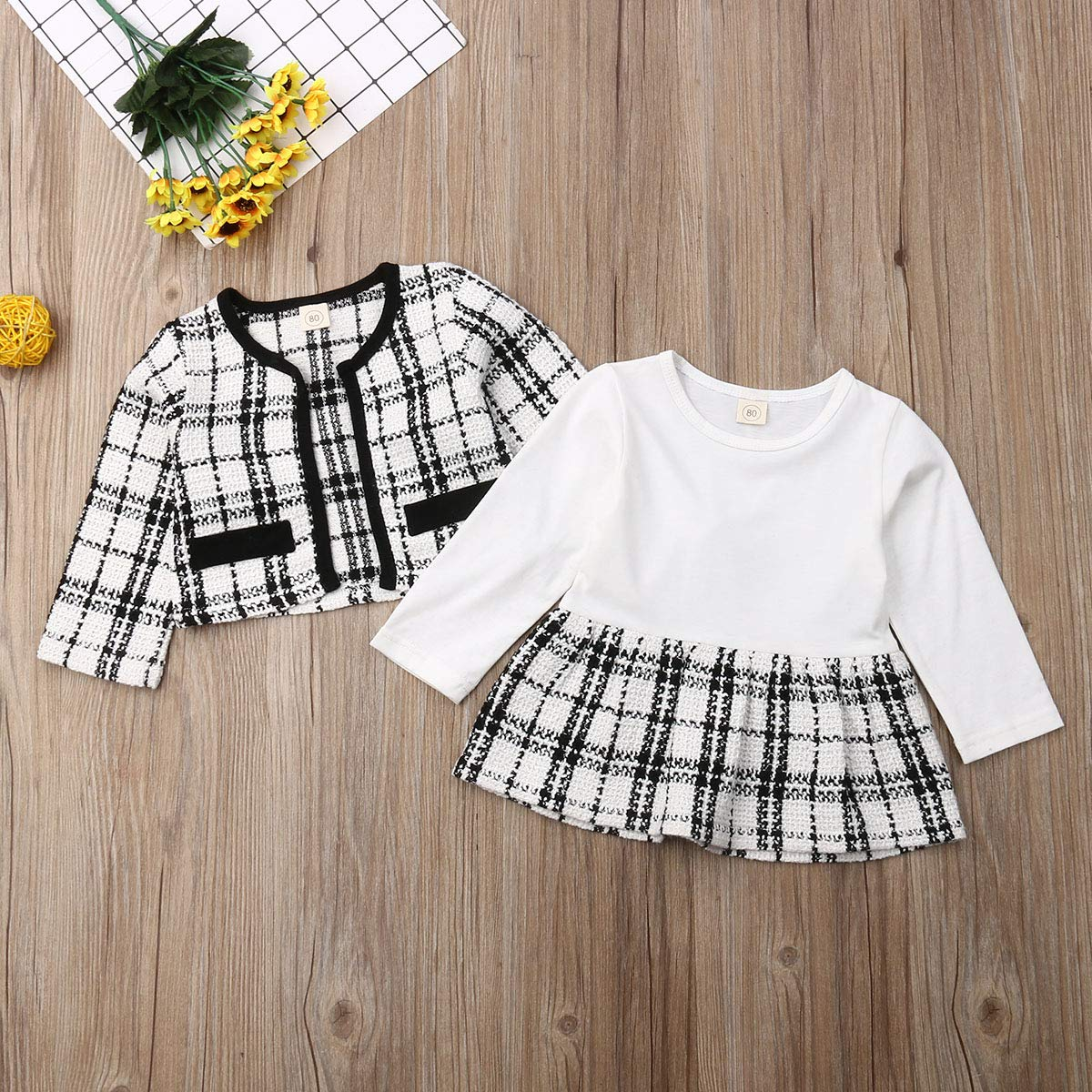 Fall Winter Toddler Kid Baby Gir Cute Long Sleeve Jacket Coat Plaid Dress Tutu Skirt Party Clothes Casual Outfit