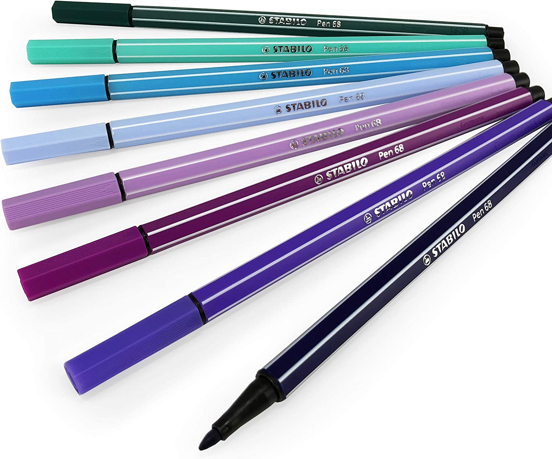 Wallet of 8 1.0mm STABILO Pen 68 Fibre Tip Fineliner Narwhal Set