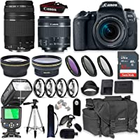 Canon EOS 77D DSLR Camera with 18-55mm & 75-300mm Lens + Canon 2400 Camera Case + Speedlight TTL Flash + 32GB Memory + Wide & Tele Auxiliary Lenses + High Def Filter & Macro Kit + Accessory Bundle