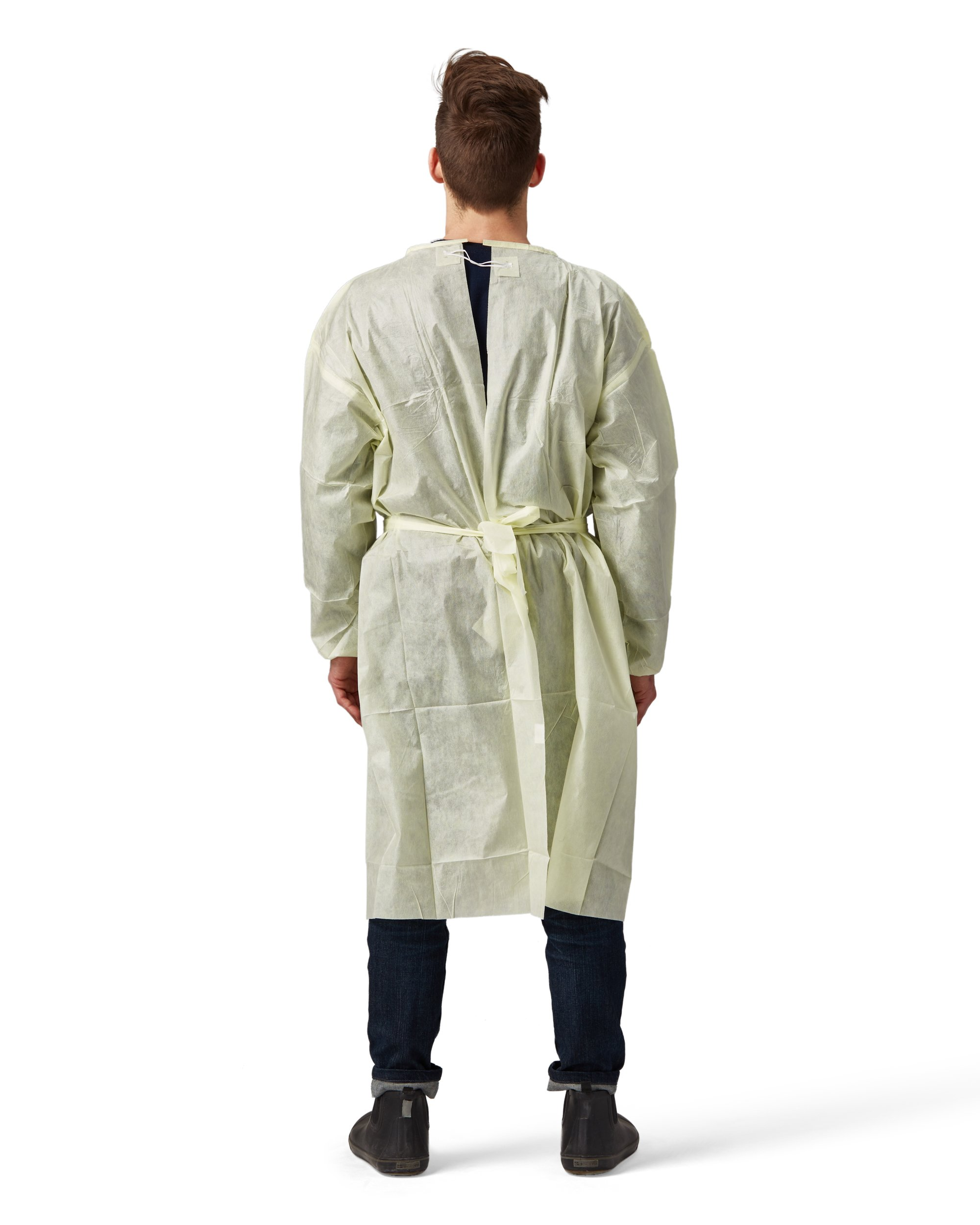 Disposable SMS Polypropylene Isolation Gown, with Elastic cuffs, Breathable, flexible, and fluid resistant. Professional Surgical gowns & Lab Coats. (10 Units, Regular) by AMD Ritmed® (Image #2)