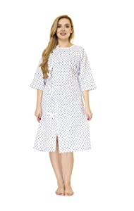 LUXCARE Hospital Gowns for Men and Women ~ Unisex Patient Medical Gowns Fits All Sizes up to 2XL, Washable Hospital Gown for Elderly, Hospice, Home Care, Labor and Delivery
