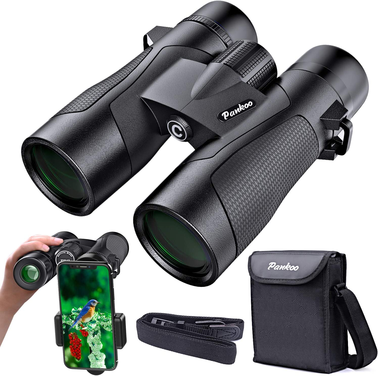 12×42 Binoculars for Adults-Pankoo HD Binocular for Bird Watching Travel Hiking Wildlife Hunting Concerts Theater-Waterproof Low Night Vision Lightweight-Compact-Binoculars-for-Adults