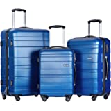 Merax ® Set of 3 Light Weight Hardshell 4 wheel Travel Trolley Suitcase Luggage Set Holdall Case-20/24/28 inch (Blue)