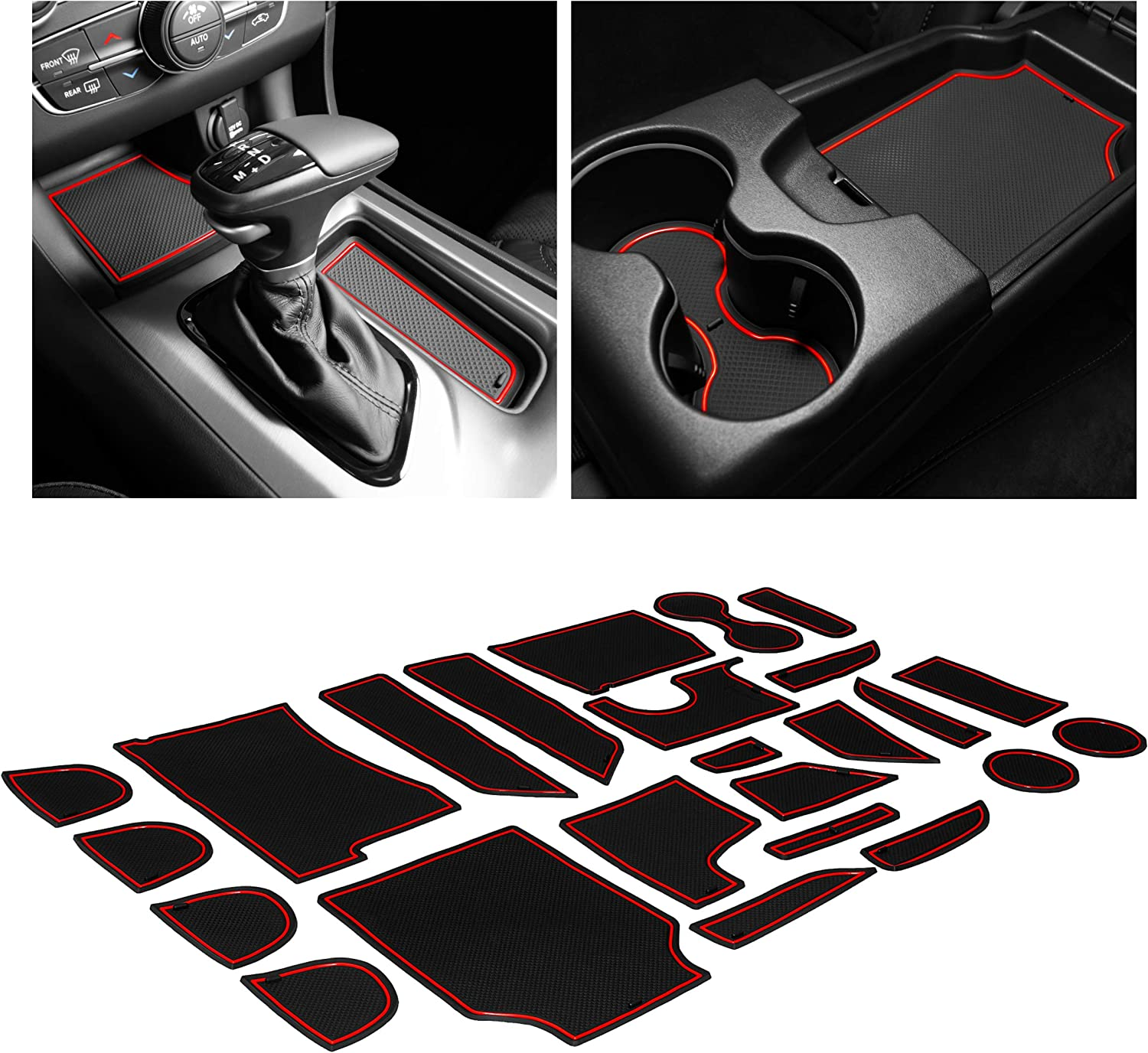 CupHolderHero fits Ford Fusion Accessories 2017-2020 Premium Custom Interior Non-Slip Anti Dust Cup Holder Inserts Door Pocket Liners 22-pc Set Blue Trim Center Console Liner Mats