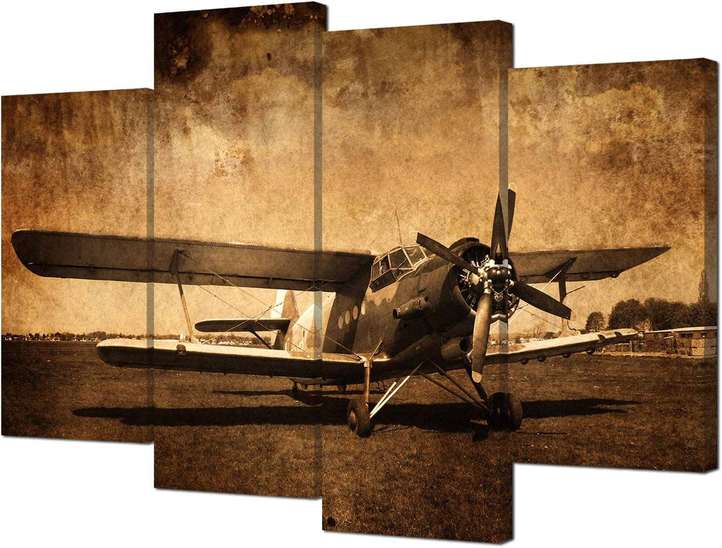 VVOVV Wall Decor Vintage Plane Picture Canvas Wall Art Prints Airplane Aircraft Poster Prints Large 4 Panels Boys Bedroom Decor