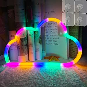 VIFULIN Cloud Lights for Bedroom with 4 Hooks Aesthetic Room Decor Cool Gadgets Battery/USB Gaming Accessories LED Light Cute Room Decor Teen Girl Room Decor Neon Sign Room Lights(Multicolor)