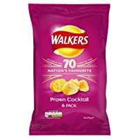 Walkers Prawn Cocktail Crisps, 25 g, Pack of 6