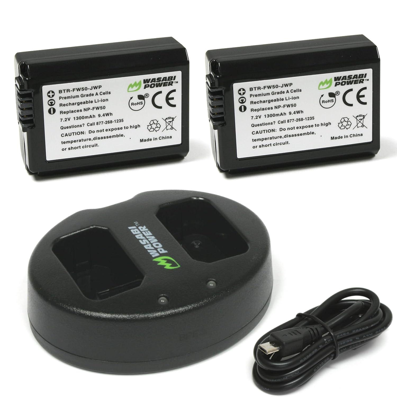 Batería Wasabi Power (paquete de 2) y cargador doble para Sony NP-FW50 (Compatible con Alpha a7, a7 II, a7R, a7R II, a7S, a7S II, a5000, a5100, a6000, ...