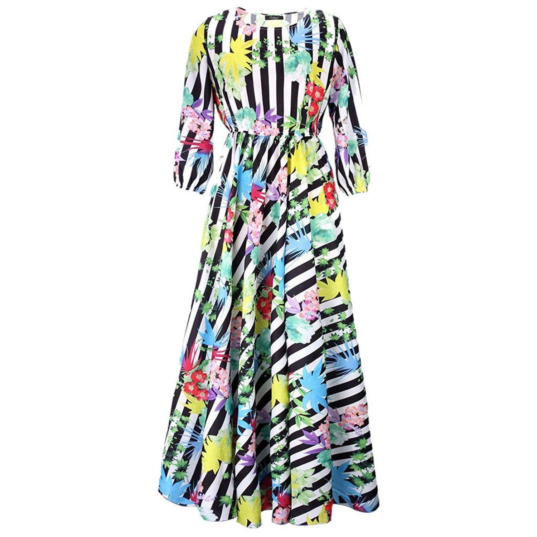 Cooped dresses Womens Crewneck 3//4 Sleeve Floral Printed Bohemian Long Maxi Beach Dresses