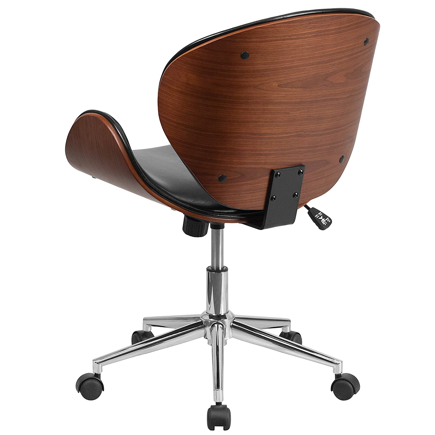 leather office chair modern. Amazon.com: Flash Furniture Mid-Back Walnut Wood Swivel Conference Chair In Black Leather: Kitchen \u0026 Dining Leather Office Modern