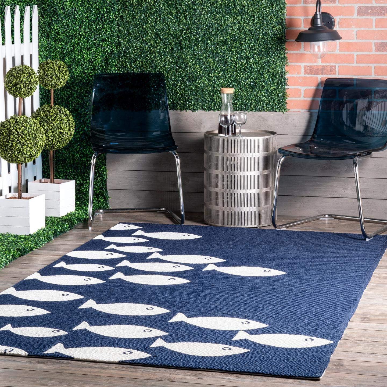 nuLOOM Vivienne Hand Hooked Indoor/Outdoor Rug, 4' x 6', Navy