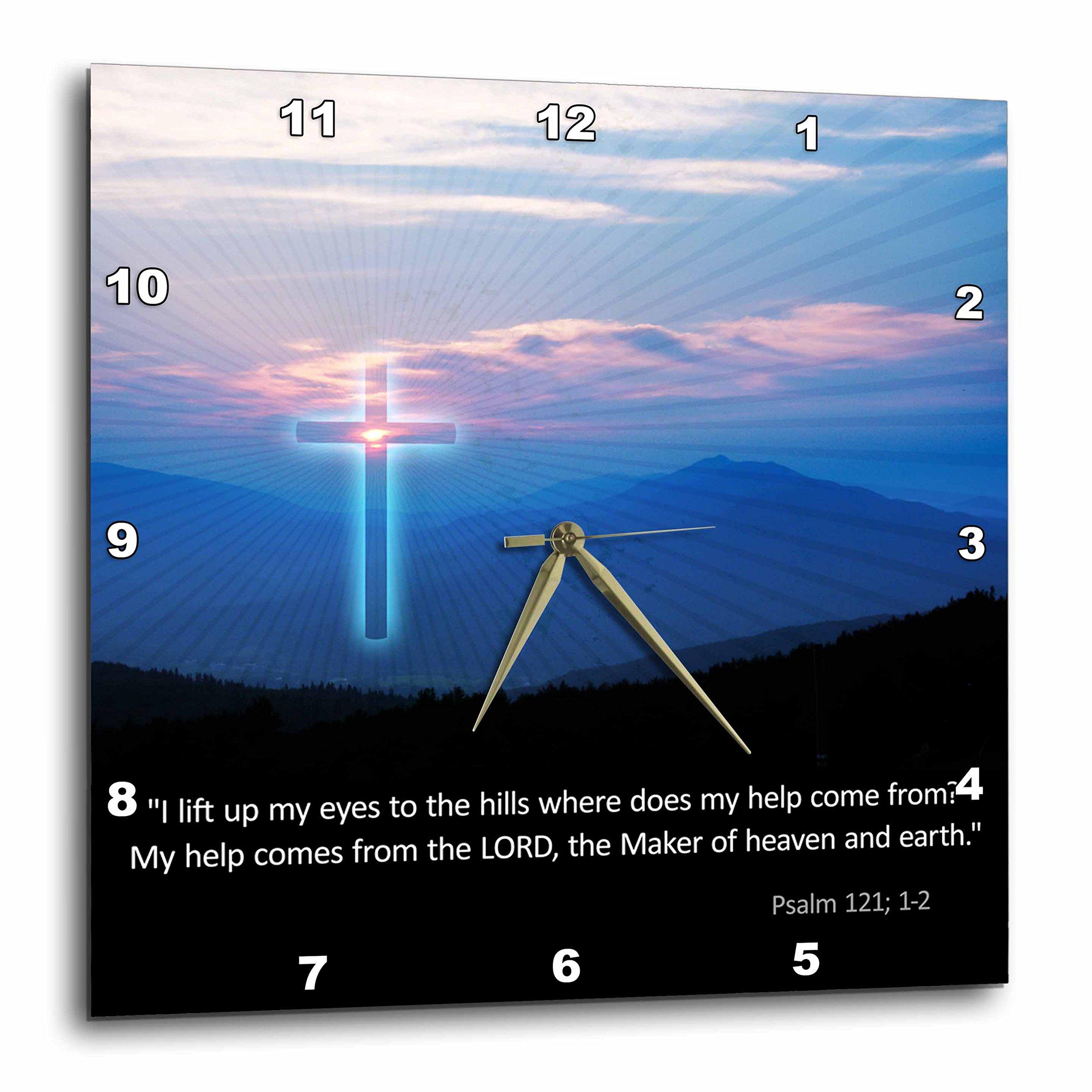 3dRose Christian - Inspirational Psalm - Wall Clock, 10 by 10-Inch (dpp_218867_1)