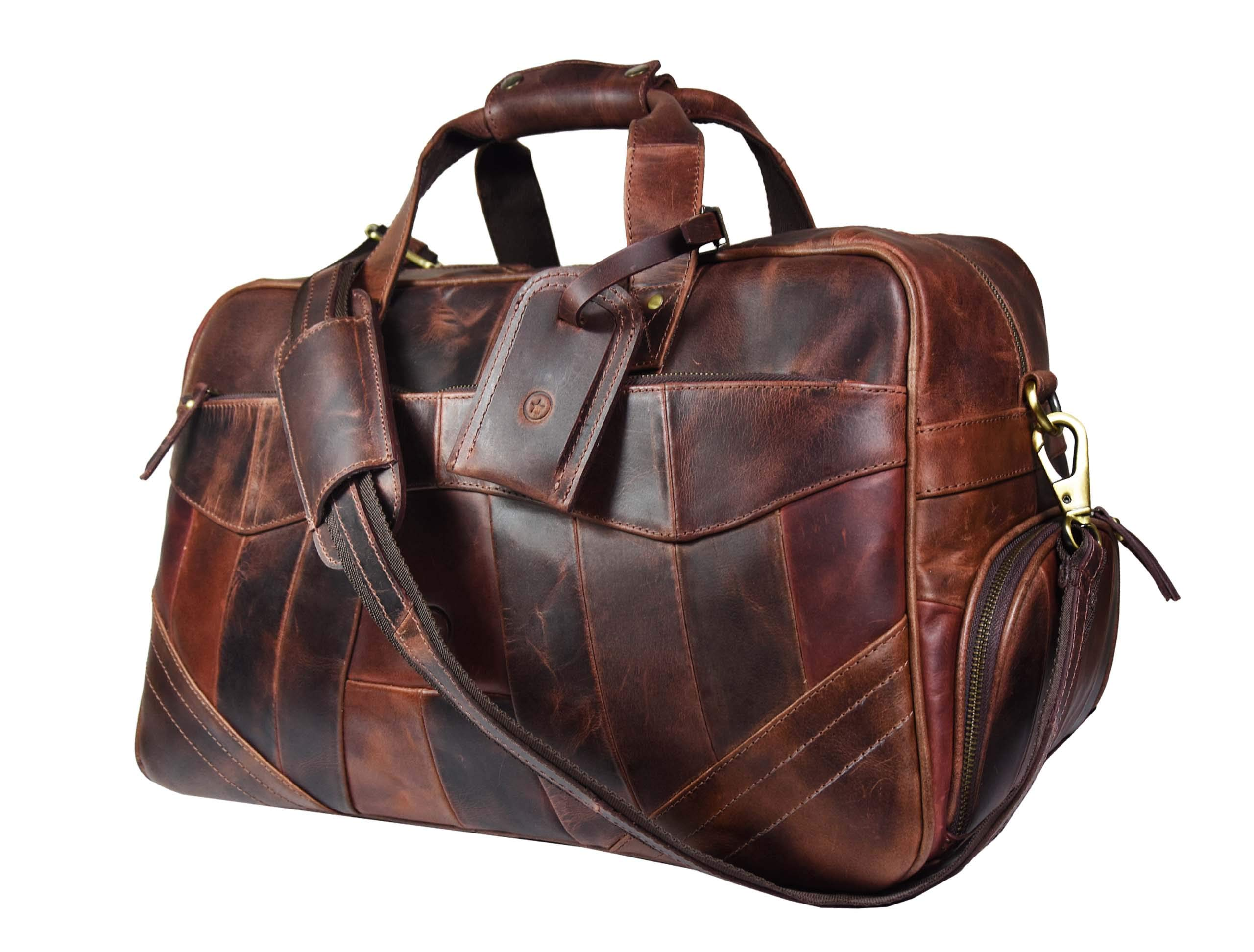 Leather Travel Duffle Bag Overnight Weekend Luggage Carry On Underseat Airplanes (Walnut Brown)