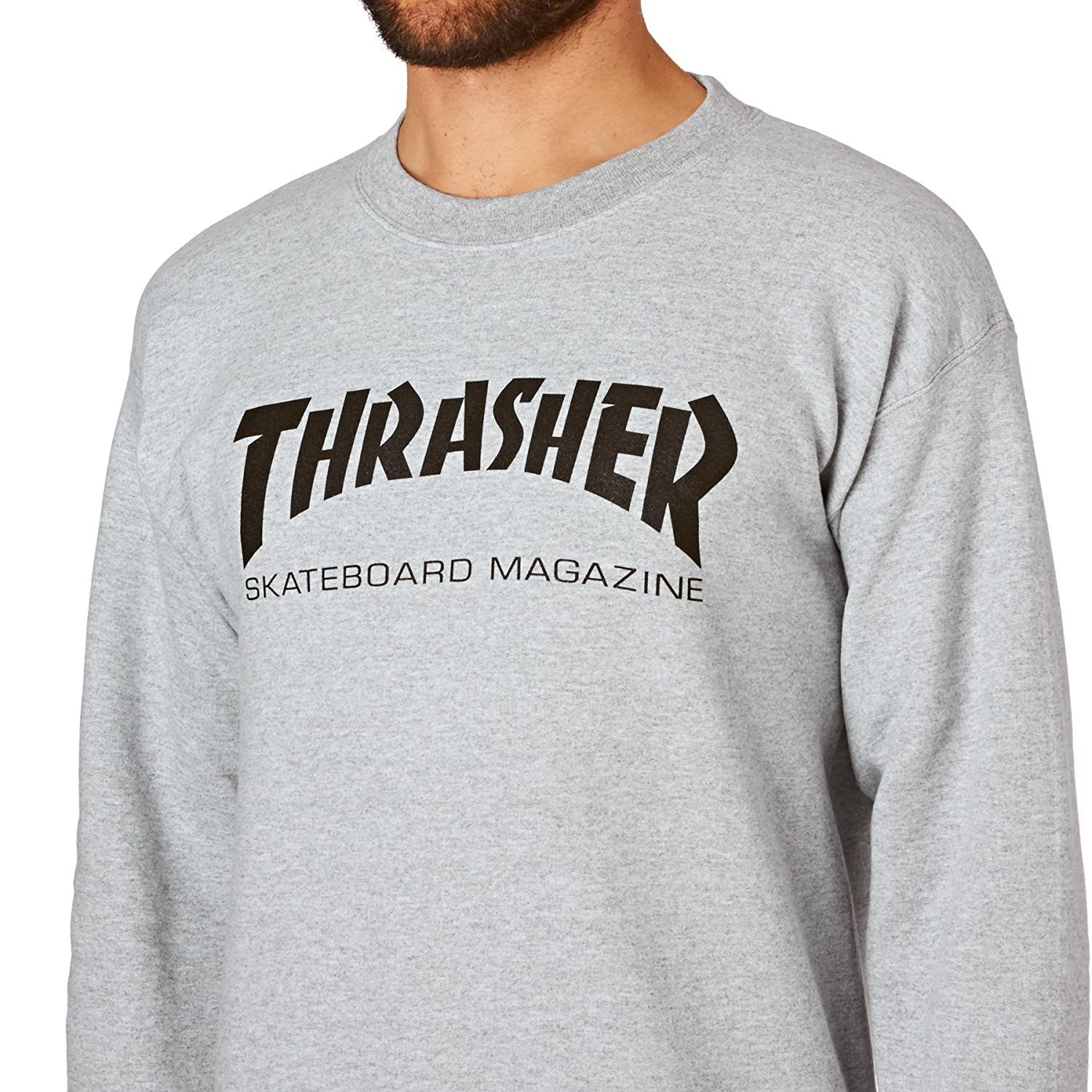 Thrasher Crewneck Skateboard Sweatshirt Gray Thrasher-Sk8MagCrew-BLK
