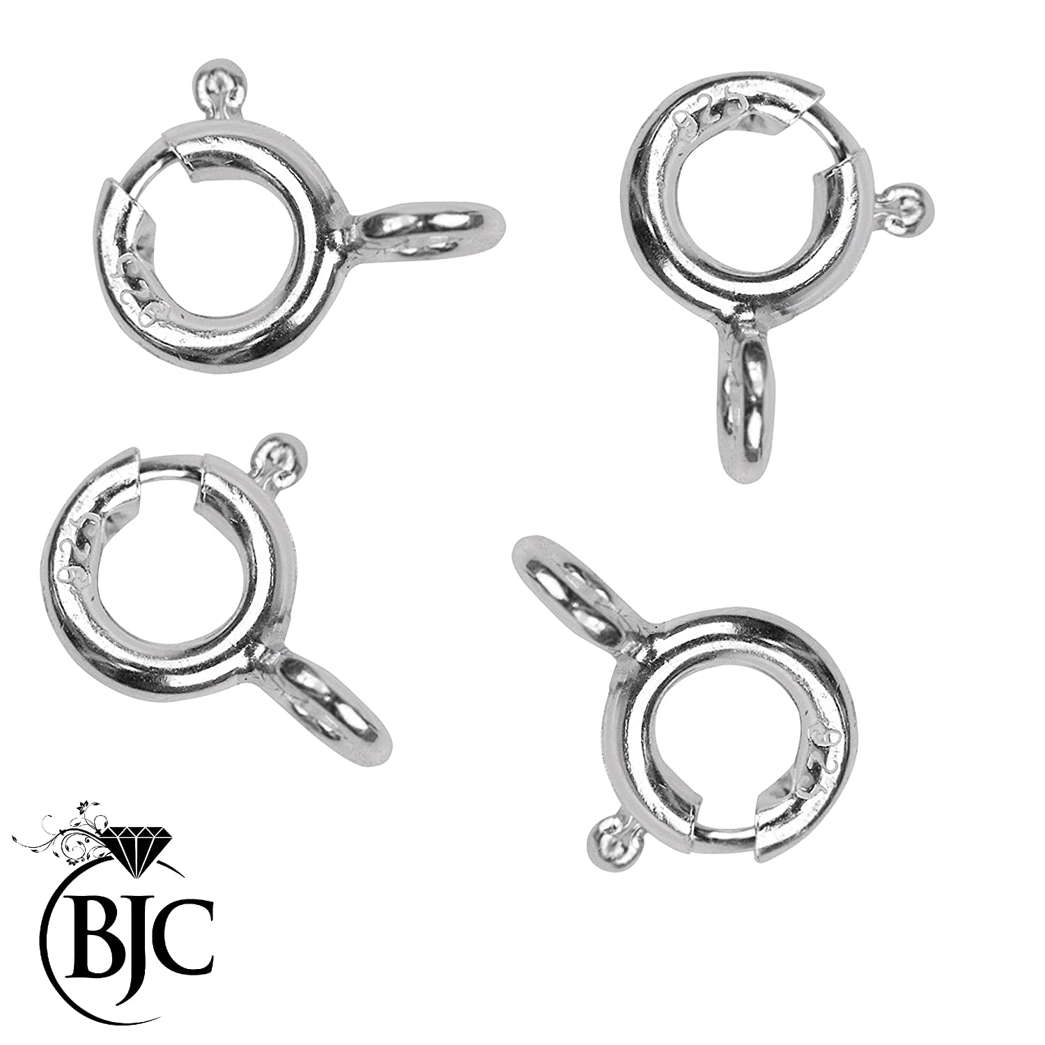 10 x 6mm Solid Sterling Silver Bolt Ring Clasps with open jump ring for Jewellery Making