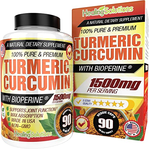 Turmeric Curcumin with Bioperine 1500mg 90 Capsules Maximum Potency Pain Relief Joint Support Supplement 95 Standardized Curcuminoids. Non-GMO Tumeric Gluten Free Turmeric with Black Pepper