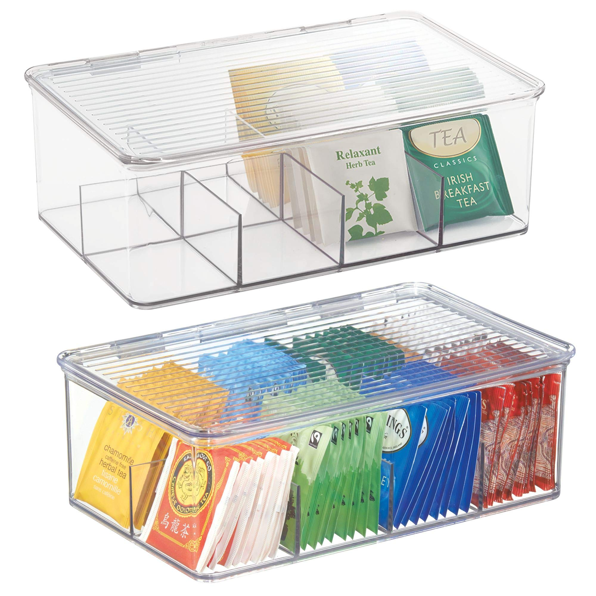 mDesign Stackable Plastic Tea Bag Organizer Storage Bin Box for Kitchen Cabinets, Countertops, Pantry - Hinged Lid - BPA Free, Food Safe - Holds Beverage Bags, Cups, Pods, Packets - Pack of 2, Clear