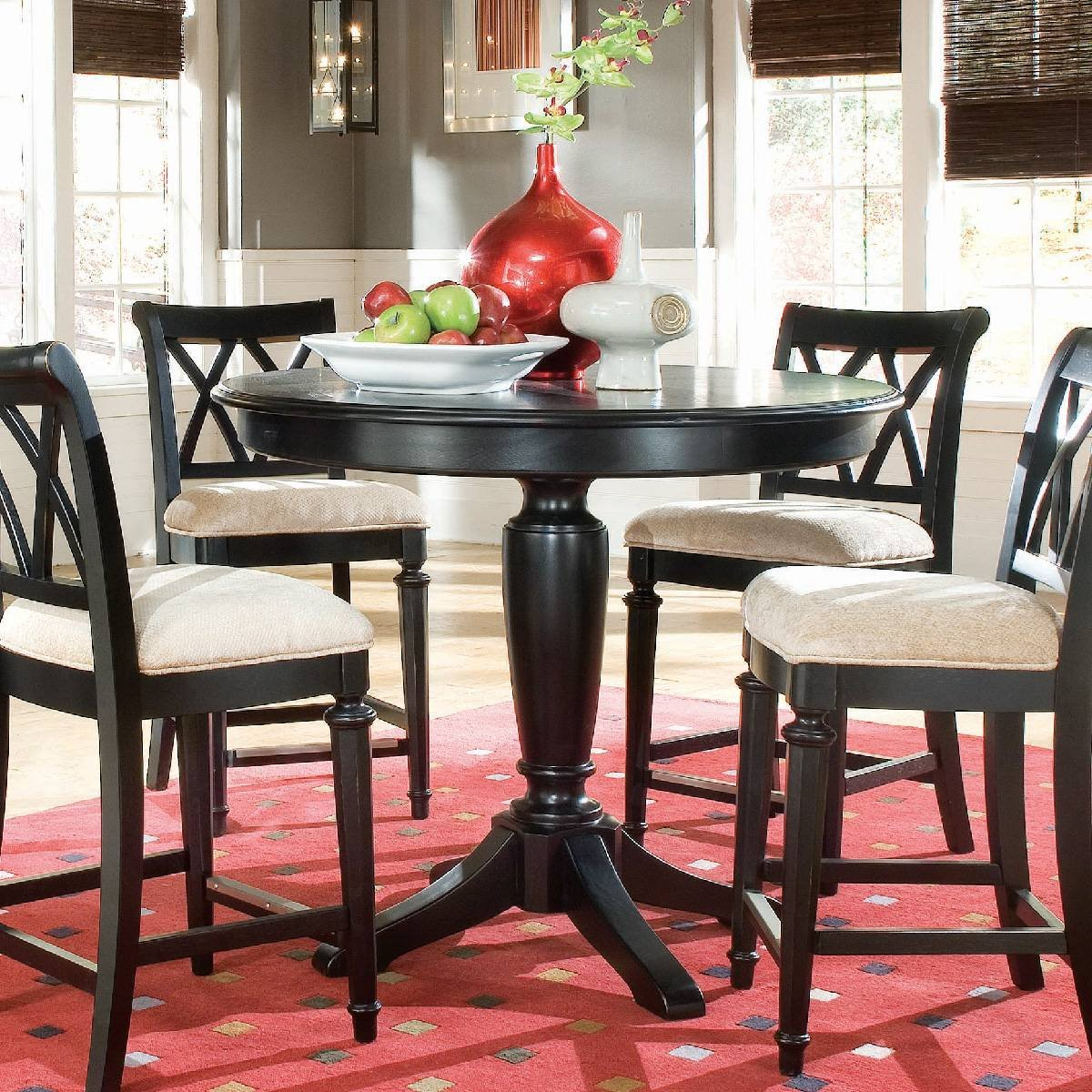 Counter height round table and chairs - Amazon Com American Drew Camden Black Round Counter Height Pedestal Table Tables