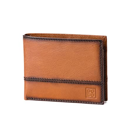 3982d8a4155da Leather wallet with coin pocket and credit card holder   ID window DUDU  Light brown  Amazon.co.uk  Luggage