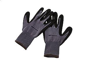 AmazonCommercial 13G Nylon & Nitrile Gloves (Grey/Black), Size L, 3 Pairs