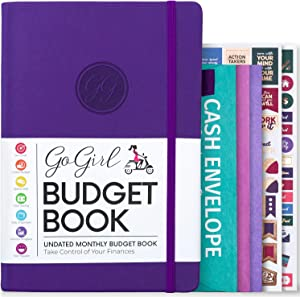 GoGirl Budget Book - Colorful Monthly Financial Planner Organizer. Budget Planner & Expense Tracker to Reach Financial Goals, Lasts 1 Year, Undated, Bonus 3 Cash Envelopes, A5 Hardcover - Purple