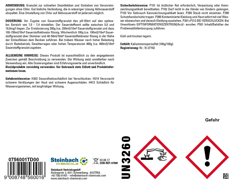 Steinbach Piscina Química, oxígeno granulado, Color Blanco, 10 x 10 x 20 cm, 0756001td00: Amazon.es: Jardín