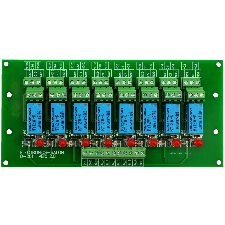 Electronics-Salon 8 DPDT Signal Relay Board Module, DC12V Version, pour PIC Arduino 8051 AVR MCU.