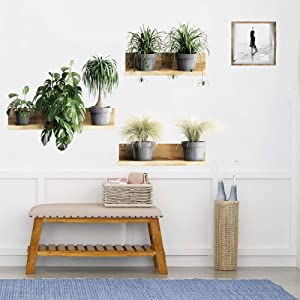 ROFARSO Nature Green Potted Plants Leaves Grass Wall Stickers Removable Peel and Stick Wall Decals 3D Fake Shelf Picture Decorations Decor for Bedroom Living Room Murals