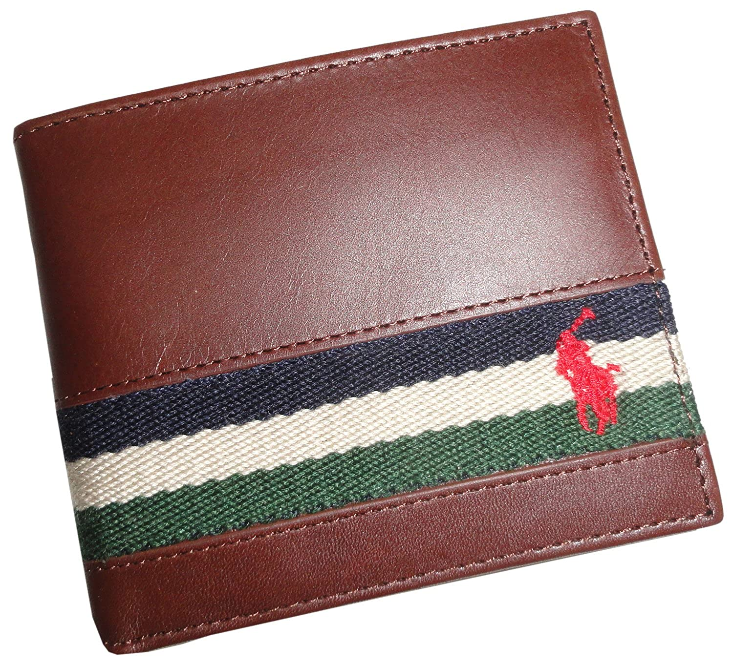 1d6f4404dfb Polo Ralph Lauren Mens Ribbon Leather Brown Bifold Wallet at Amazon Men s  Clothing store