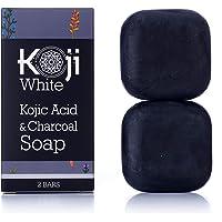 Kojic Acid & Charcoal Black Soap (2.82 oz / 2 Bars) - Skin Brightening & Smoothing for Scar Removal, Dark Spots, Acne…