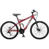 Mongoose Stasis Comp 26-Inch Full Suspension Mountain Bicycle, Matte Red, 18-Inch Frame/Medium