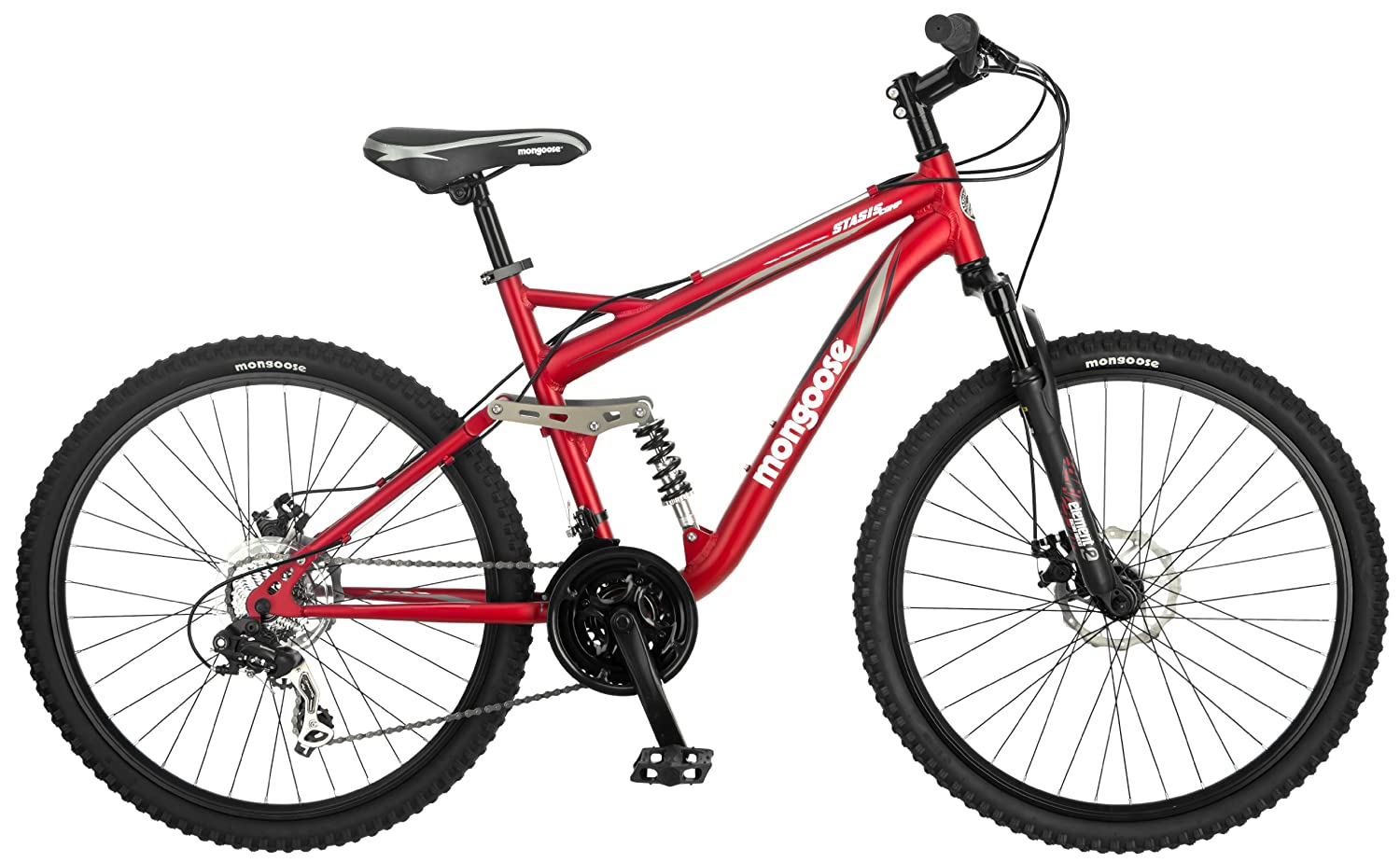 Mongoose Stasis Comp 26-Inch Full Suspension Mountain Bicycle, Matte Red, 18-Inch Frame