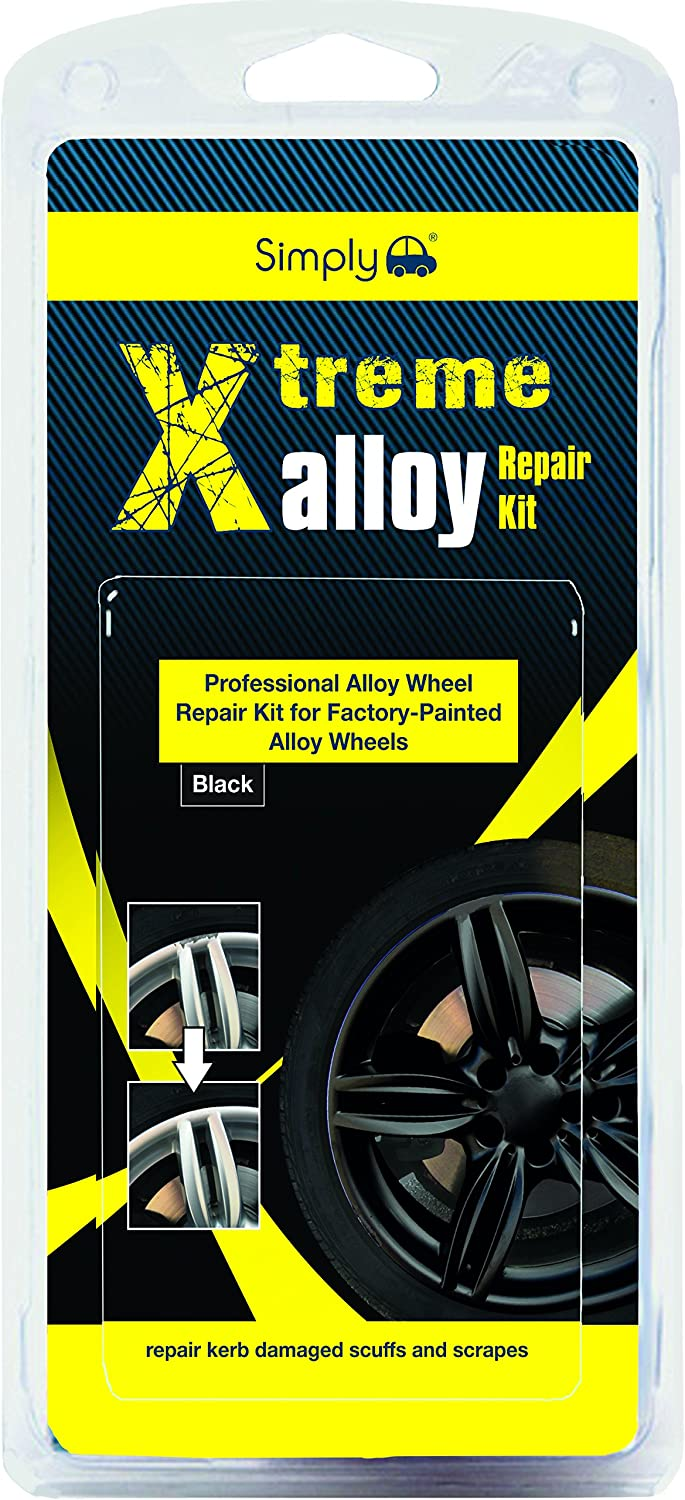 Simply XAWR2 Xtreme Alloy Wheels Repair Kit, Colour Black, 11 Pieces Set, Repair Kerb Damaged Scuffs and Scrapes with Easy & Full Instruction for factory-painted alloy wheels