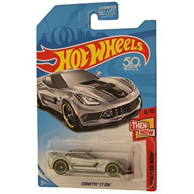 Hot Wheels Then and Now 8/10 Corvette C7 Z06, Silver: Toys & Games