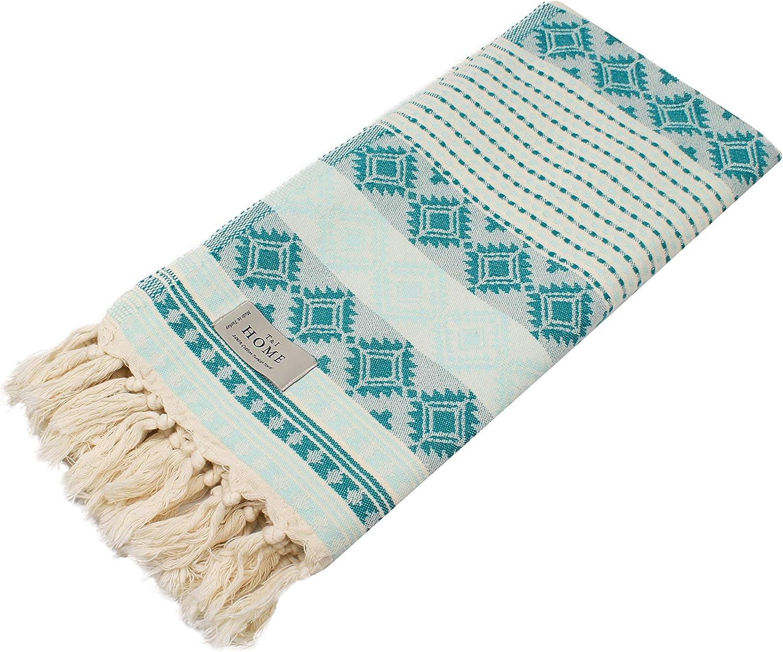 T&I Home Aztec Turkish Cotton Beach Towel, Prewashed, Quick Dry, Boho Bathroom Towels | Peshtemal Towel for Beach, Bathroom, SPA, Gym, Yoga Blankets 36 x 70 Inches (Mint)