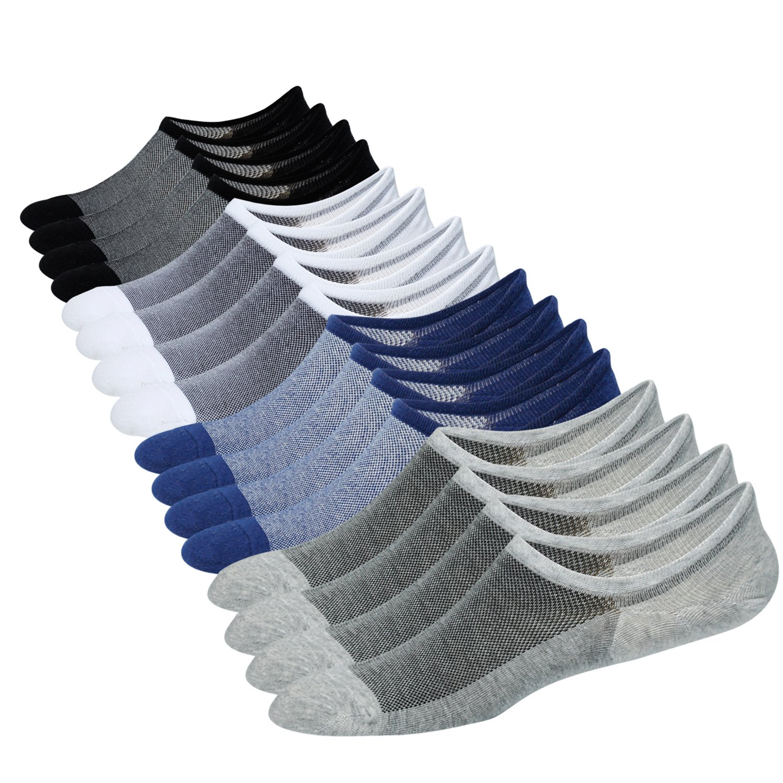 Jormatt 8 Pairs Men's No Show Socks Sneaker Shoes Mesh Knit Low Cut Socks Comfort Cotton Athletic Casual Non Slip Socks Multicolor, Men Shoes size 6.5-10
