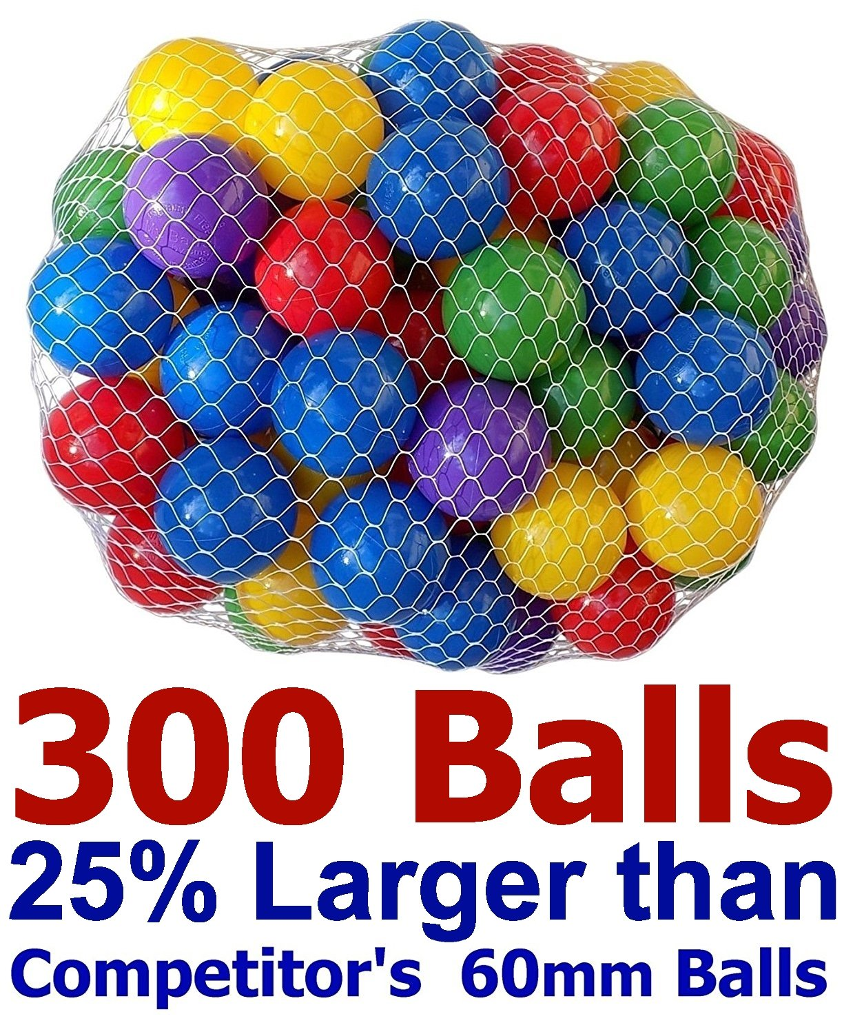 Pack of 300 Large Size 2.5'' Crush-Proof Ball Pit Balls - 5 Colors, Phthalate Free; BPA Free, Non-Toxic, Non-Recycled Plastic (Pack of 300)