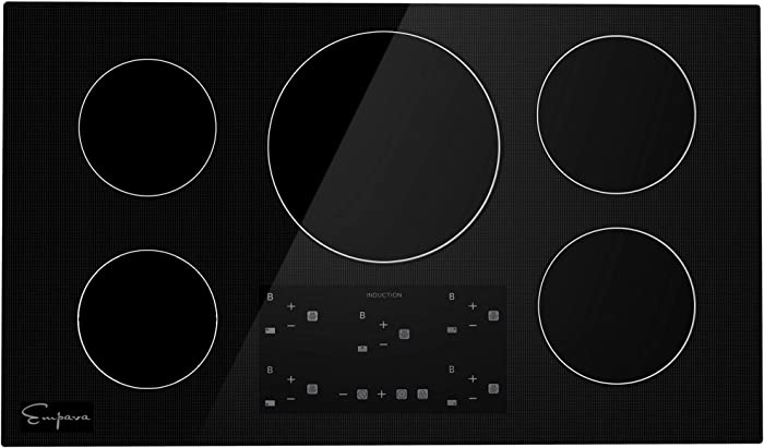 Empava IDCX36 36 Inch Electric Induction Cooktop Smooth Surface with 5 Burners 240V, Black